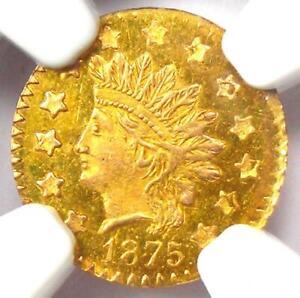 1875 Indian California Gold 50C Coin BG-1057 R5+ - NGC MS63 PL (BU) - $750 Value