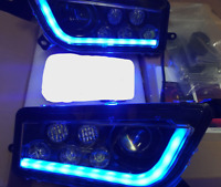 POLARIS RZR XP 1000 & TURBO  BLACK &  BLUE ANGEL EYE  LED HEADLIGHTS KIT