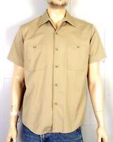 vtg 60s Sears Perma Prest Khaki Beige Poplin Button Down Work Shirt sz M