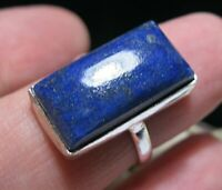 Beautiful Jewellery STERLING SILVER Real Lapis Lazuli Rectangular RING Size O 7