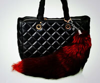 Large Luxury Natural Genuine Wine Red Fox Tail Keychain Fur Tassel Bag Tag Gift