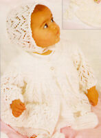 """Lacy Picot Baby Jacket Bonnet Bootees & Mitts 18""""- 20""""  4 ply  Knitting Pattern"""