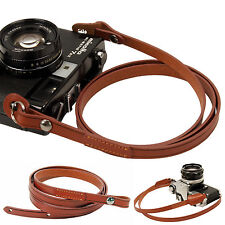 Brown whole leather Camera neck shoulder strap for Film SLR DSLR RF Leica Digi