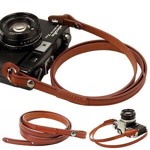 Brown whole leather Camera neck shoulder strap for Film SLR DSLR RF Leica Digi