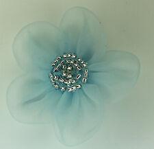 5 Pieces Large Organza Flowers Sew On Appliques   Colour: Silver Lt Blue #2