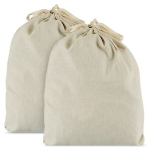 2 Pack Large Organic Reusable Flax Cotton Bread Bags, 38x33cm with Drawstrings