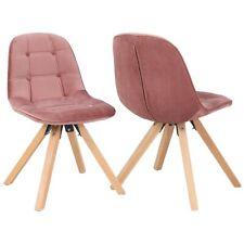 Esszimmerstuhl Rosa Pink Polsterstuhl 2er Set Stühle Stoff Samt RETRO Design