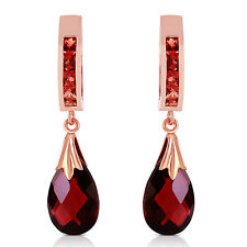 14K Solid Rose Gold Hoop Earrings with Natural Garnets