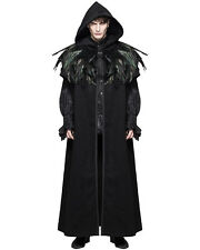 Devil Moda Uomo Mantello Cappotto Giacca Nero HOODED CROW Feather Gothic Steampunk