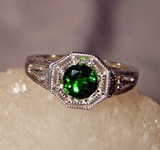 1.04 Ct.Round Chrome Diopside Ring Sterling Silver Filigree