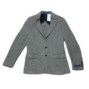 Polo Ralph Lauren Mens Blazer Black Herringbone Flap Pockets Wool Blend 38R New