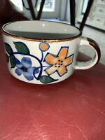 Vtg Brown Grey Speckled Stoneware Soup Mug with Blue And Orange Flowers