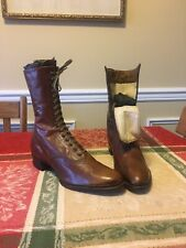 Vintage Roberts Johnson & Rand Women's 9� Lace-Up Brown Leather Boots Star Value