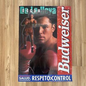 Vintage 1999 OSCAR DE LA HOYA Boxing Poster Budweiser Beer Salud Respeto Control