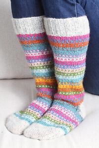 Pachamama Villarica Long Socks Stripes Made in Nepal (Knee High/Boots)