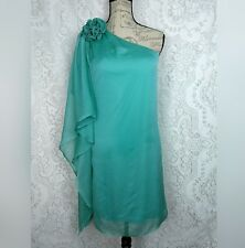 London Times womens cocktail dress size 8 teal one-shoulder flower chiffon