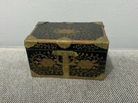 Antique Japanese Meiji Lacquer Wood Box w/ Gold Painted & Brass Decoration
