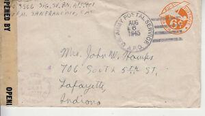 rare ww2 apo 901 ryukyu aug 6 1945 john hawks to mrs. hawks lafayette,indiana ++