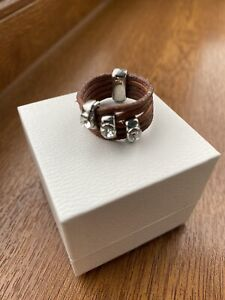 USED - leather and stone ring - large