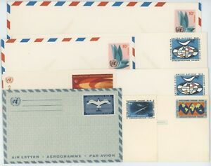United Nations Stationary Postcards & Envelopes 1966 to 1969 Lot of 8 #14588