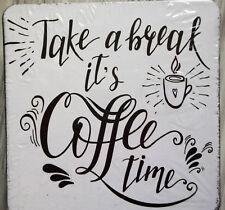 6 Kork Untersetzer--Schriftzug--Take a break it´s Coffee time--schwarz/weiß--OVP