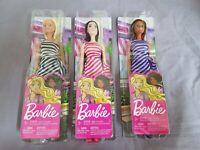 3x Barbie Modepuppe mit gestreiftem Kleid - Mattel Neu Ovp NrfB - T7580 Puppe