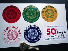 TARGA FLORIO 60's scrutineers Set di 6 adesivi 60mm CORSA concorrenti verifica