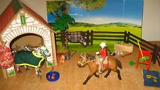 NEW Schleich Pony Club Horse Rider Saddle Bridle + Stable Farm Set Wild Western