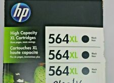 3 Pk. Genuine HP 564 XL High Capacity Black Cartridges new Sealed Exp. 04/2018