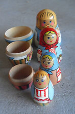 "Vintage 1970s Ussr Made Russian Nesting Doll Boy with Baby Doll 4 1/2"" Tall"