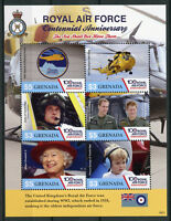 Grenada Aviation Stamps 2018 MNH Royal Air Force RAF 100 Years Royalty 6v M/S I