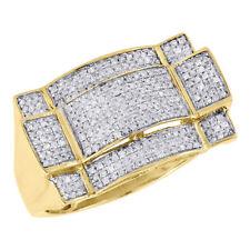 10K Yellow Gold Mens Diamond Round Cut Square Top Fashion Pinky Ring  0.52 Ct.