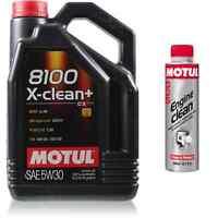 5L Motul 8100 X-clean+ 5W-30 Motoröl  + Engine Clean 300 ml Additiv
