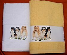 SHETLAND SHEEPDOG SHELTIE LARGE HAND/GUEST TOWEL WATERCOLOUR PRINT SANDRA COEN