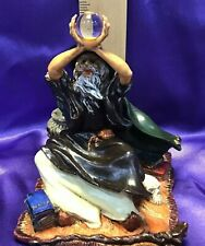 Wizard Incense Burner Purple + Green Robes Holding Crystal Ball Resin Handpaind