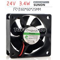 1pc SUNON GM2406PTVX-A Cooling fan 24V 3.4W 2pin 60*25mm #XX