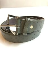 MEN'S LEATHER BELT Dark Gray Ostrich Exotic Print L 38-40 Western Cowboy Vaquero