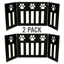 """2 Pack of Dog Gate Free Standing 48"""" Wide 19"""" Tall Three Panel Wooden Paw Décor"""