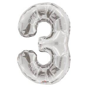 """Large Jumbo Silver Metallic Number 3 Foil Helium Balloon 34""""/87cm (Not Inflated)"""