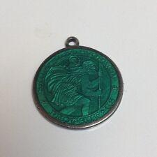 Vintage Catholic Religious Medal Emerald Green ENAMEL STERLING Saint Christopher