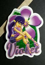VIOLET PURPLE FLOWER SPICE GIRLS SCRATCH N SNIFF ART STICKER