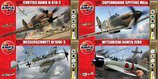 Airfix Zero, Messerschmitt, Spitfire, & Hawk W/ Paint 1:72 Model Airplane Kits