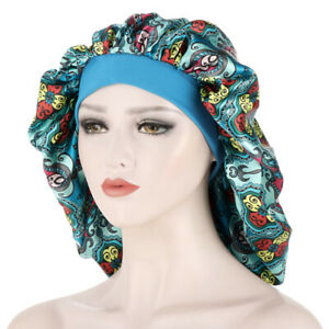 Women Satin Bonnet Hats Cover Hair Oversized Printed Night Sleep Cap Turban
