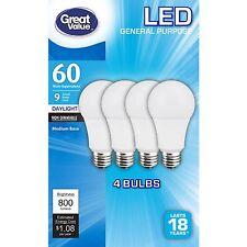8 LED Daylight Light Bulb 9W = 60 Watt A19 5000K TCP 800 Lumens non Dimmable
