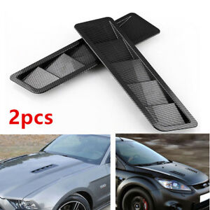 2pcs Excellent Carbon Fiber Look Style Universal Hood Vent Louver Cooling Panel