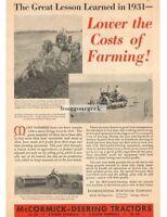1932 McCormick Deering Farmall Tractors Little Genius Plow  Vtg Print Ad
