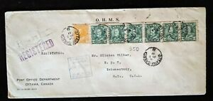 1932 Ottowa Canada to Schenectady New York Registered Multi Franking Cover