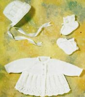 (794) Baby Coat Bonnet Bootees Knitting Pattern, 14-18'' - very pretty design