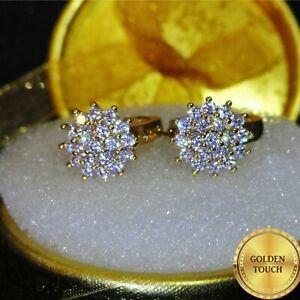 Womens Luxury Simulated White Diamonds Yellow Gold (GF) Hoop Earrings GIFT BOXED