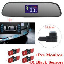 4PC Car Flat Parking Sensors Reverse Backup Radar System+Rearview Mirror Monitor